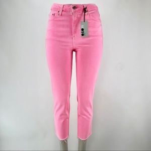 TOPSHOP Moto High Waist Raw Hem Straight Jeans! 6